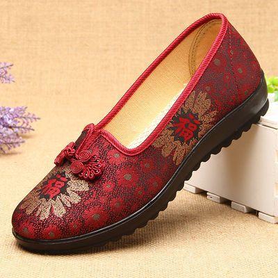 老北京布鞋女脚肥脚宽大码女鞋41-43码奶奶老人鞋软底妈妈绣花鞋