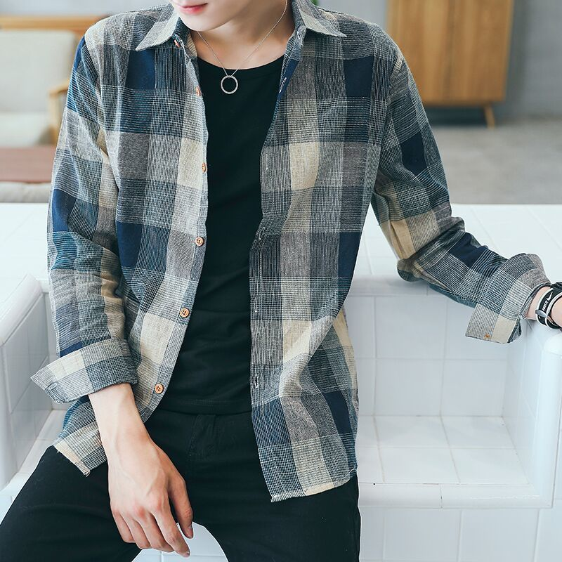Men/'s Plaid Print Long Sleeve Slim Fit Casual Spring Autumn Business Shirt C HK