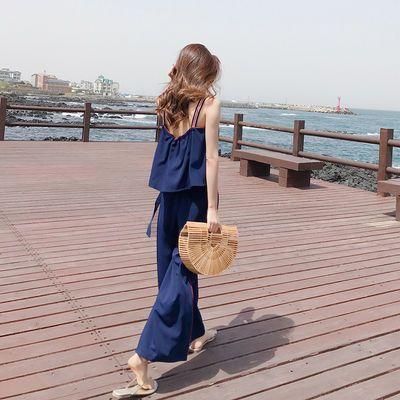 时尚阔腿裤女2019新款春夏套装显瘦露背吊带小个子韩版潮流两件套