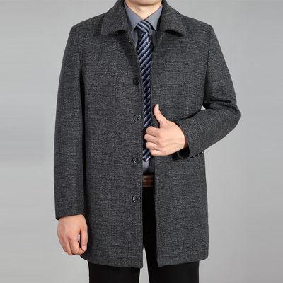 中老年男秋冬加厚中长款羊毛呢子大衣中年爸爸毛呢外套上衣加大码【3月18日发完】