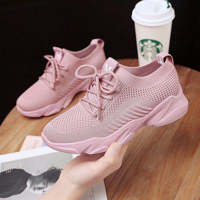 镂空透气网鞋女百搭飞织运动鞋弹力轻便女鞋韩版学生跑步鞋旅游鞋