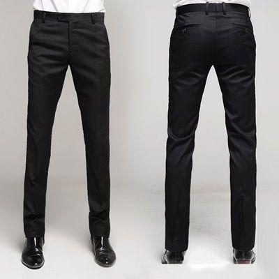 春秋商务男士西裤直筒修身黑色西装裤小脚正装免烫薄款西服裤子潮