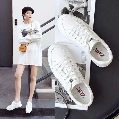 ZHR小白鞋真皮猪皮鞋2020新款休闲鞋韩版白色学生板鞋百搭运动鞋