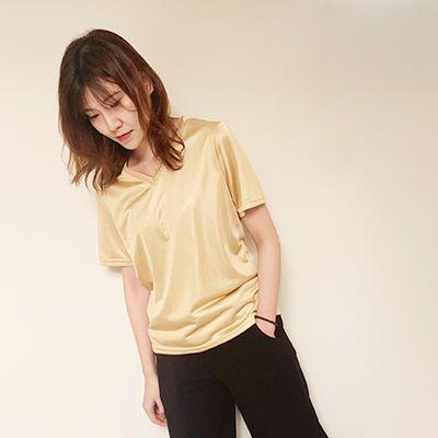 半袖新款短袖T恤女夏季秋季V领打底衫宽松丝光棉上衣
