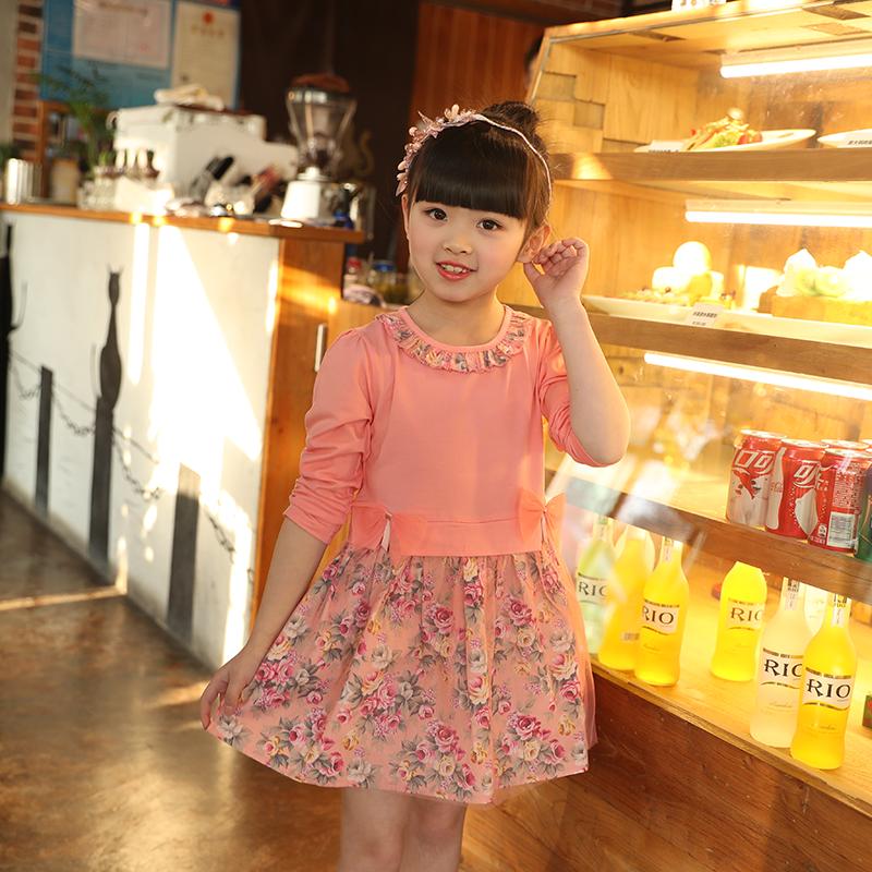 童装女童春装新款连衣裙假二件套装小女孩长裙儿童休闲洋气公主裙