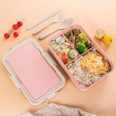 日式塑料长方形小麦秸秆饭盒分格带盖三格儿童便当盒学生保温饭盒
