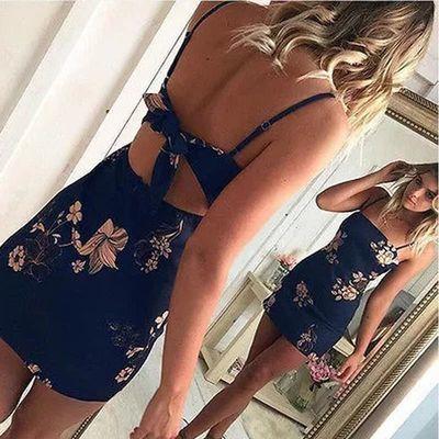 2018 Slip Dress Women's Printed party MINI Dresses吊带连衣裙