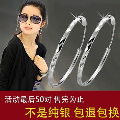 S925纯银耳环女长款韩版个性气质防过敏网红同款大圆圈耳圈夸张