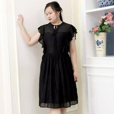 加肥大码女装新款夏装胖mm荷叶边袖收腰显瘦黑色气质雪纺连衣裙子