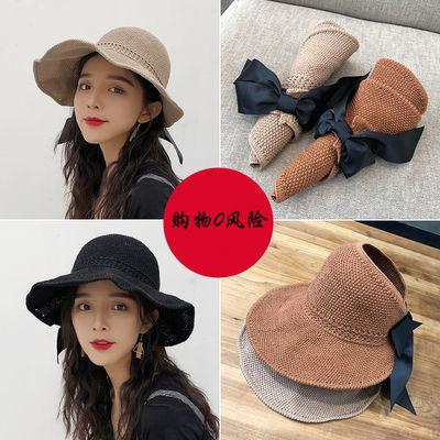 太阳帽可折叠草帽空顶遮阳帽女夏天韩版百搭帽子防晒帽遮脸出游