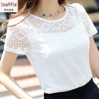 雪纺衫女2020夏季新款韩版短袖t恤上衣女修身百搭白色蕾丝打底衫