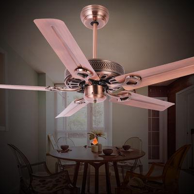 无灯吊扇餐厅黑色简约欧式家用复古工业风电风扇铁叶静音吊扇客厅
