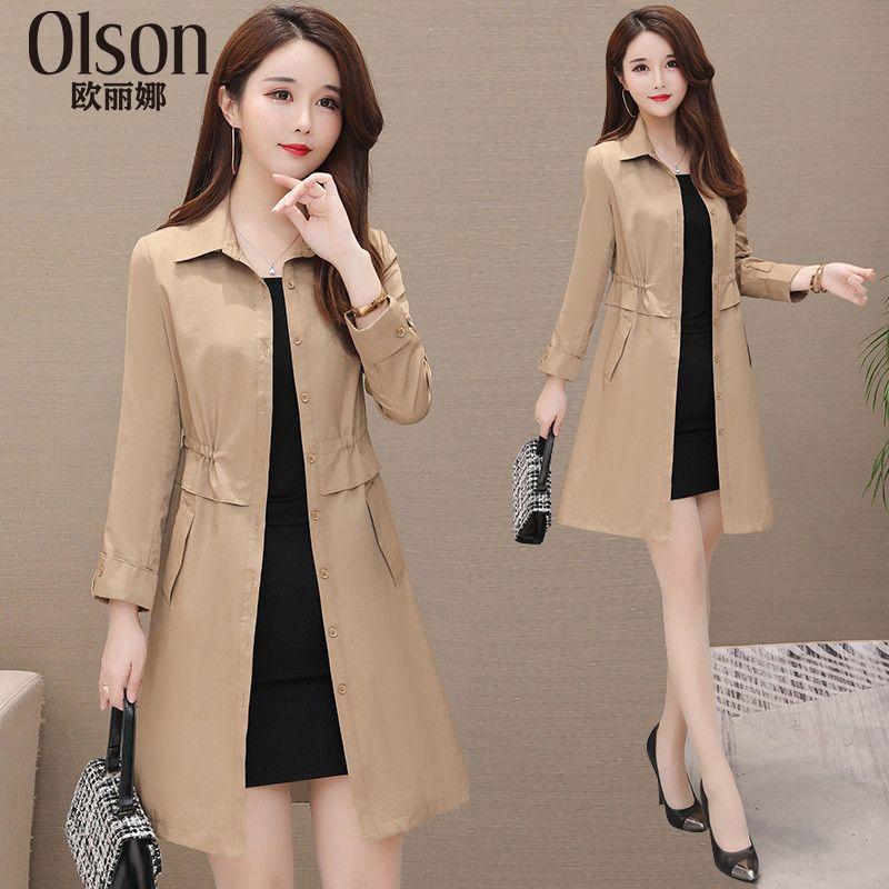 Windswear Medium and Long Style Female Spring 2019 New Korean Version Loose Fashion Temperament Leisure Large Size Slender Coat