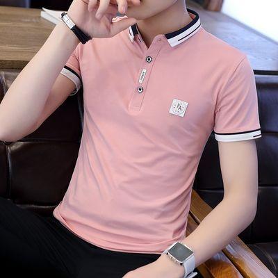 夏季潮流男装衬衫领POLO衫2020新款有带领短袖T恤男翻领半袖衣服