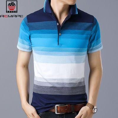 美国苹果男士圆领条纹T恤短袖潮流夏季商务休闲男装透气衣服t恤男