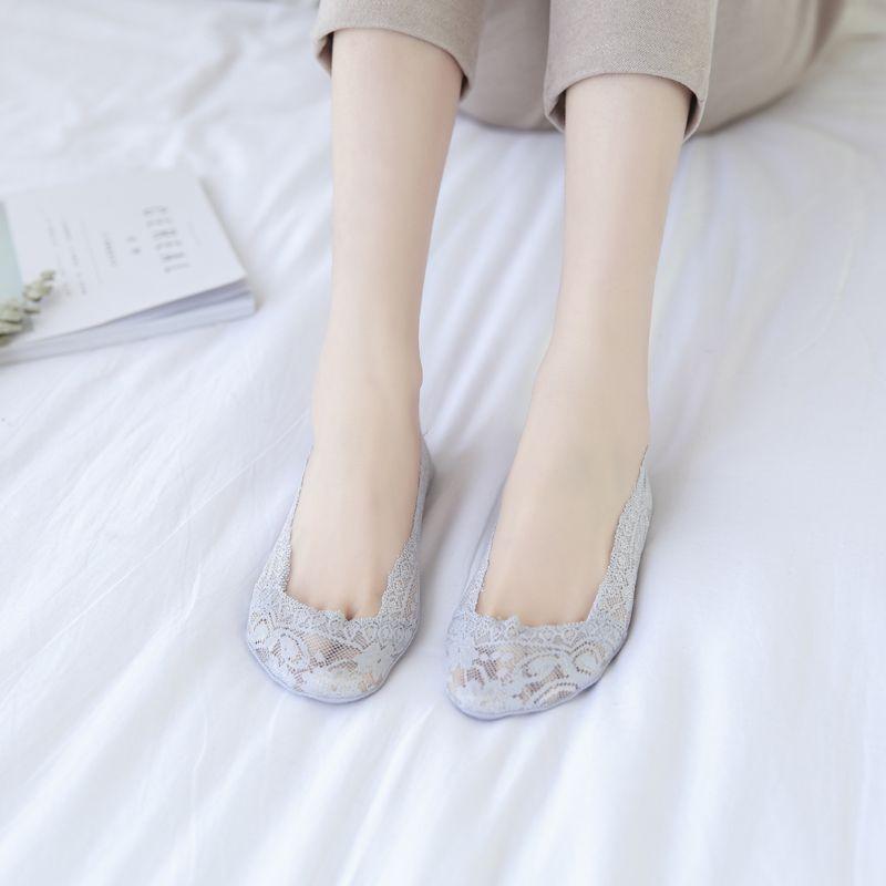 【5双装】蕾丝袜子浅口船袜女隐形袜夏薄款冰丝棉硅胶防滑短袜