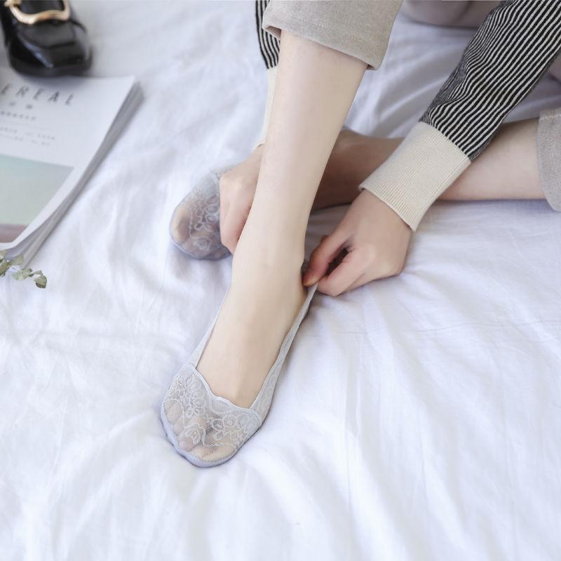 【5双装】  夏季韩版隐形袜子女孔雀翎蕾丝船袜   硅胶防滑短袜子