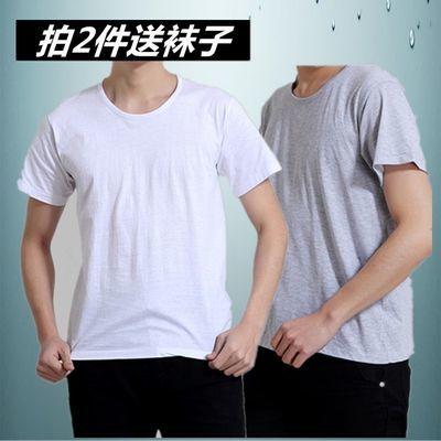 中年T恤男士夏装中老年人纯棉短袖男装圆领半袖汗衫薄款全棉t恤衫