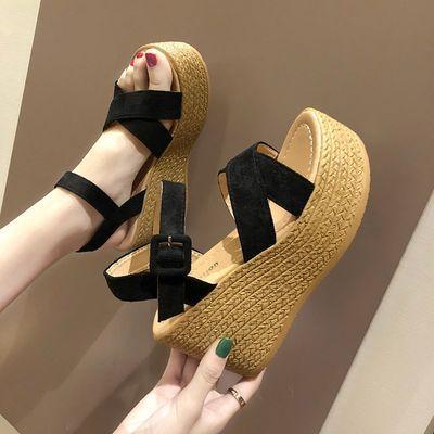 坡跟凉鞋女夏2020新款高跟女士鱼嘴鞋中跟韩版厚底学生松糕罗马鞋