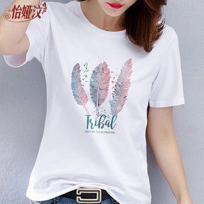 【100%纯棉】短袖t恤女宽松韩版新款大码女装半袖上衣印花体恤