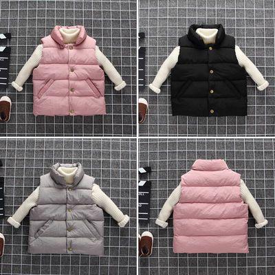 反季新款儿童羽绒棉马甲秋冬男女宝宝背心立领韩版加厚保暖外套
