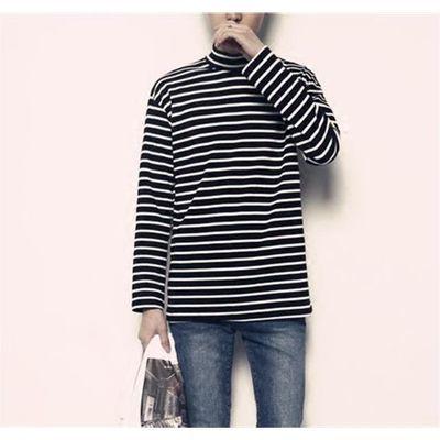 黑白横条纹半高领T恤男士长袖修身纯棉内搭秋冬打底衫加肥加大衣