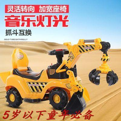 儿童大号可坐可骑电动挖掘机挖土机挖挖机滑行车四轮玩具车学步车