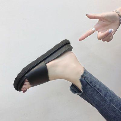 拖鞋女夏2020夏季新款韩版时尚百搭黑色厚底室外穿平底凉拖鞋女
