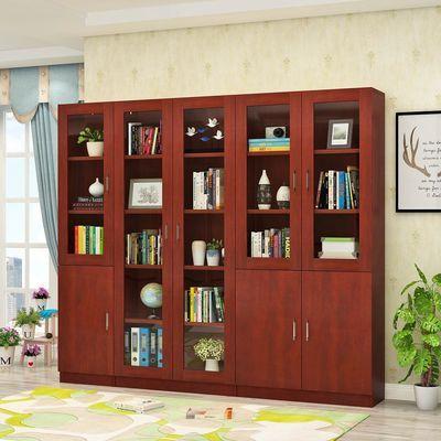 木质文件柜资料档案柜办公室带锁柜子板式书架书柜带玻璃门储物柜