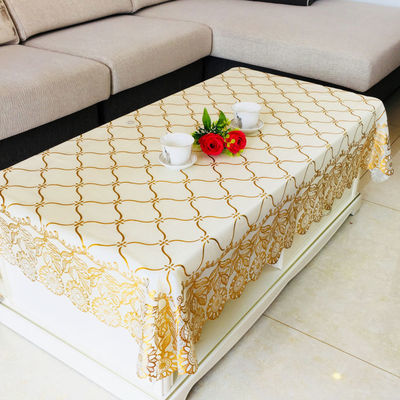 PVC烫金茶几桌布餐桌布长方形茶几布桌布台布防水防油桌布塑料垫