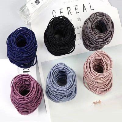 【100根】日韩版小清新头绳甜美黑色扎头发橡皮筋发圈发绳皮精绳