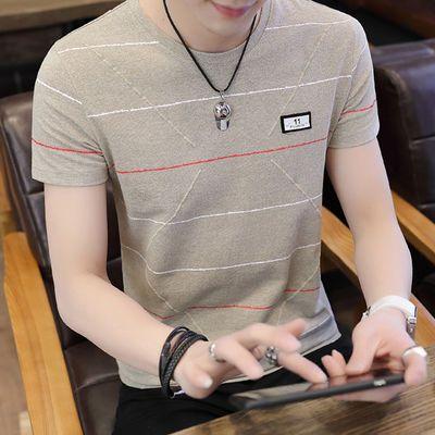 彩棉2020夏季男士短袖t恤韩版学生男装帅气半袖潮流百搭体恤衣服