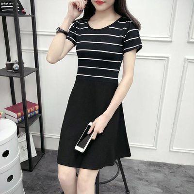 2019新款条纹连衣裙女夏韩版宽松中长款T恤学生休闲裙子显瘦