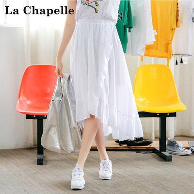 拉夏贝尔Puella夏季不规则显瘦荷叶边中长款纯色百褶裙女20010144