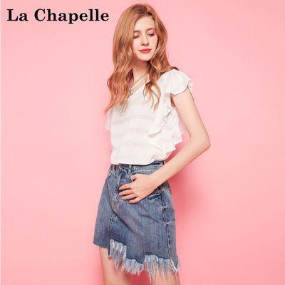 拉夏贝尔puella夏季新时尚显瘦休闲甜美短袖荷叶边薄款套头T恤女