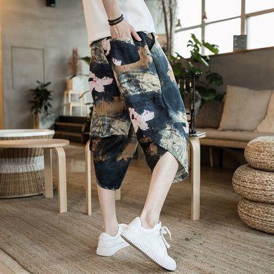 夏季亚麻短裤男装休闲宽松中国风七分裤沙滩裤海边度假大码灯笼裤