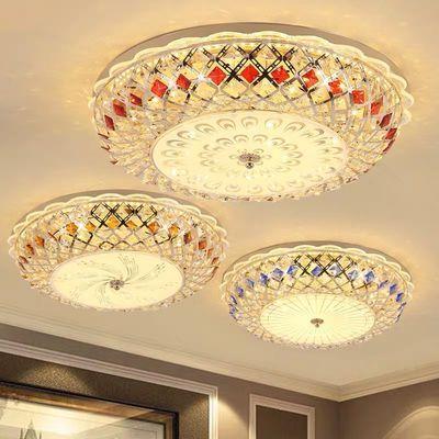 led卧室灯吸顶灯圆形婚房水晶灯欧式吸顶灯卧室书房阳台鸟巢灯具