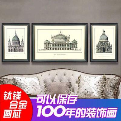 美式沙发背景墙壁画客厅挂画餐厅建筑风格装饰画现代简约玄关卧室