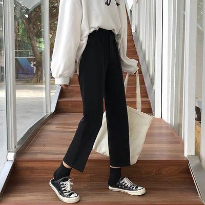 2020春夏女学生韩版宽松黑色阔腿裤直筒裤百搭高腰九分垂感西装裤