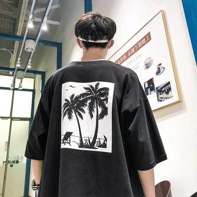 港风圆领嘻哈短袖男t恤夏季潮流个性印花五分袖韩版宽松学生上衣