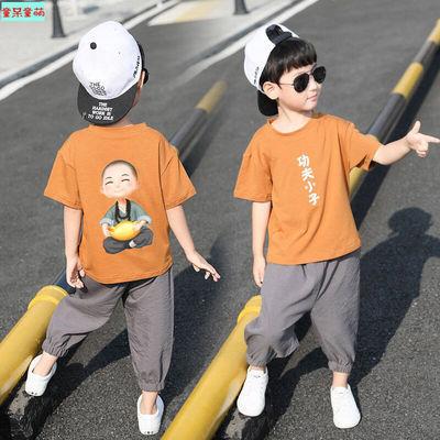 棉男童套装夏装2020新款儿童夏季短袖中大童男孩洋气衣服两件套潮