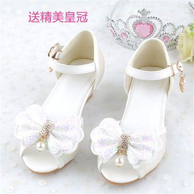 女童凉鞋2020新款夏季儿童蝴蝶结高跟鞋中大童蓝色白色紫色浅粉色
