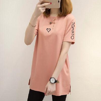 特惠2020夏季新款女装上衣韩版宽松大码中长款t恤短袖女休闲t恤潮