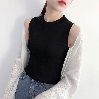 针织衫女夏2018吊带背心女韩版学生外穿内搭冰丝无袖短款打底上衣