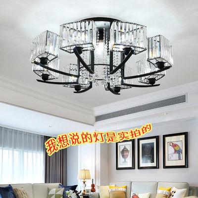 新款水晶客厅灯简约大气圆形吸顶灯现代轻奢卧室餐厅房间家用灯具