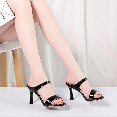 高跟拖鞋女夏外穿细跟时尚女鞋外出室外高跟鱼嘴拖鞋红色性感凉拖