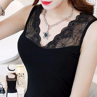 莫代尔2019春夏女士性感蕾丝吊带打底衫宽松大码上衣背心修身T恤