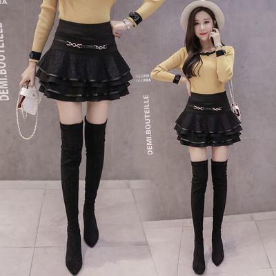 春秋新款黑色半身裙女高腰蓬蓬裙弹力小黑裙蛋糕裙防走光蕾丝短裙