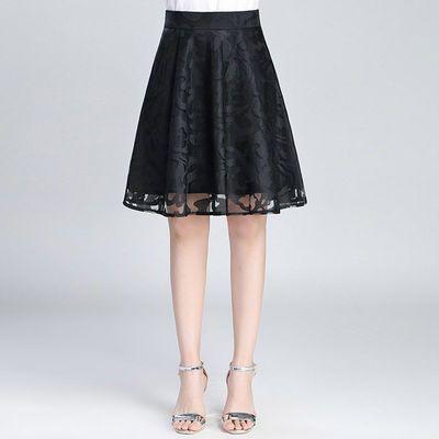 若衣雅半身裙短裙女A字裙中裙春季新款薄款蕾丝裙网纱中长百褶裙