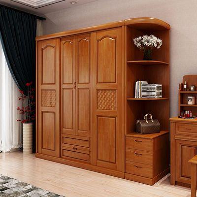 实木衣柜推拉门全实木衣橱木质现代中式卧室橡木滑移门原木大衣柜